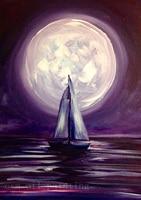 Nite Handpainting Nowoczesne Streszczenie Farby Ścienne Artwork Płótnie Obraz Ręcznie Łodzi Sailling w Morzu Księżyc Sztuki Obrazy Olejne
