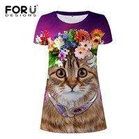 FORUDESIGNS Cute 3D Lavender Cat Women Dresses Fashion Short Sleeves Dress For Ladies Pastoral Style Mini