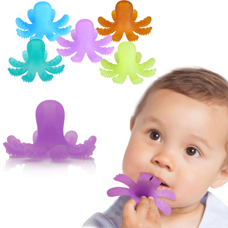 Cute Baby Teether Lovely Octopus-Shaped Teether Silicone Baby Safe Toys Cartoon Dental Care