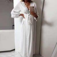 Womens long robe macio oco para fora laço até cintura magro ajuste casual longo solto vestido de verão maxi feminino v neck vestido festa