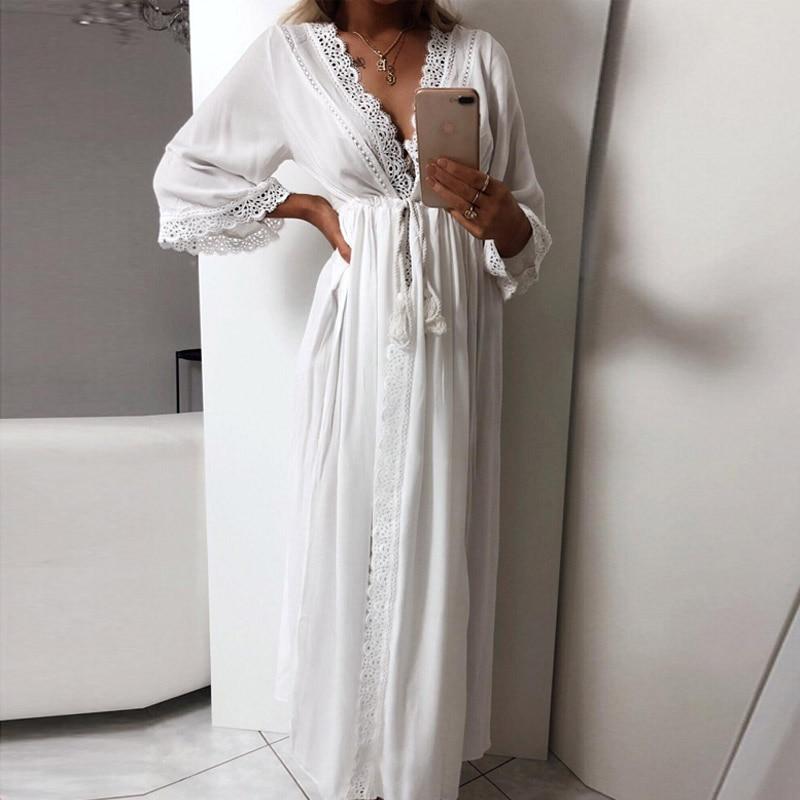 Для женщин s длинный халат мягкий выдалбливают Кружева связать талии Повседневное Длинные свободные летнее платье Мак
