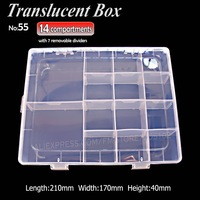 1pc Lot 14cells Jewelry Boxes Plastic Acrylic Cosmetic Nail Art Pill Box Case Portable Storage Container