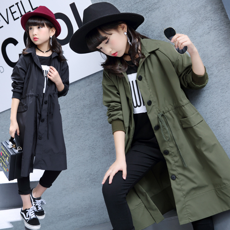 2018 Spring Autumn New Girls Jackets Fashion Children Cotton Coats Teenage Casual Long Outerwear Children   Trench   Overcoats P175