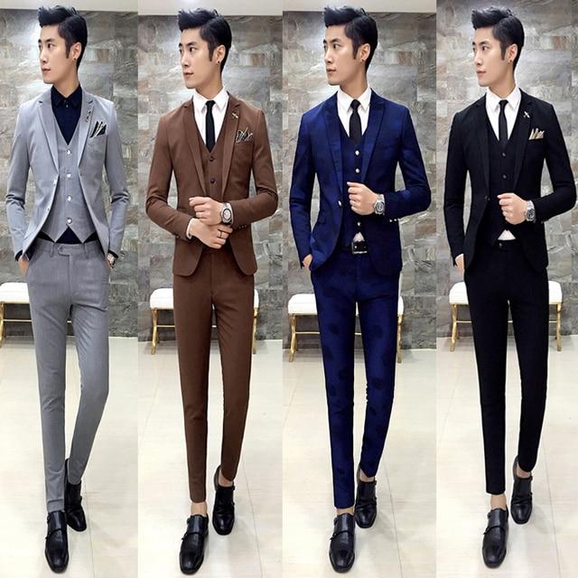 f12319437fd0a Darmowa wysyłka 2016 moda slim fit męskie Koreański stylista włosów  3-częściowy zestaw garnitur pana