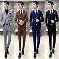 Envío gratis 2016 fashion slim fit estilista 3-piece set vestido de novia traje de novio masculino Coreano show host trajes para hombre