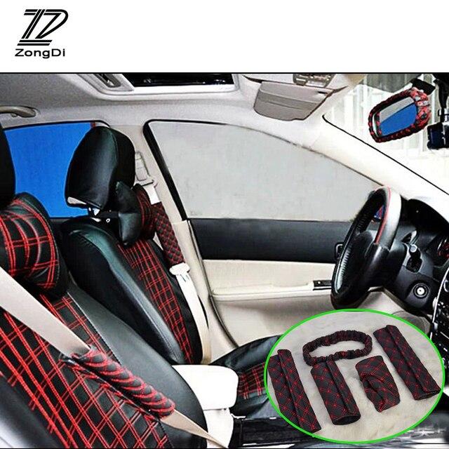 zd 5 stksset auto interieur vijf veiligheidsgordel achteruitkijkspiegel handrem voor vw polo passat