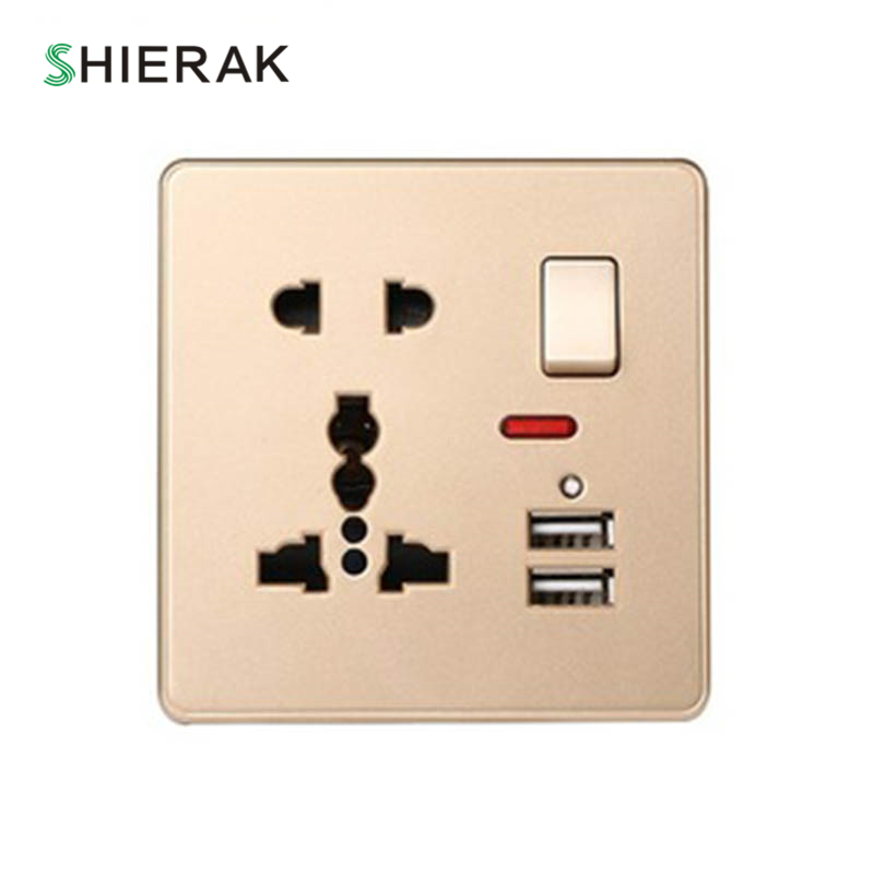 SHIERAK Universal Steckdose Mit 2 USB Ports 5 V 2100MA Led-Licht Steckdose Muiti funtion Gold-Panel Outlet