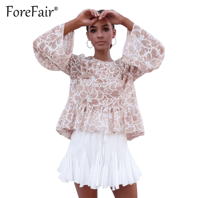 Forefair Elegant Lace Blouse Autumn Winter Women Long Sleeve Loose Tops Ladies Amazing Ruffle Shirt Sexy See Through Blusa