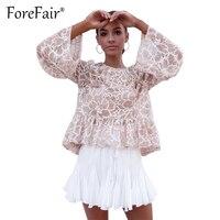 Forefair Zarif Dantel Bluz Sonbahar Kış Kadın Uzun Kollu Gevşek Blusa Bayanlar İnanılmaz Fırfır Gömlek Seksi See Through Tops