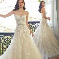 Милая Свет Шампанское кружево Аппликация свадебное платье с цвет бисер створки свадебные платья в наличии Robe De Mariage