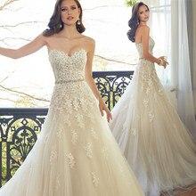 a141b9646 Sweetheart Luz De encaje Champagne vestido De boda con apliques con Color  cordón nupcial vestidos De novia en Stock Robe De Mari.