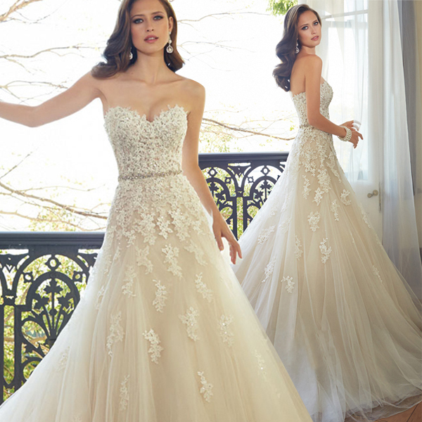 Sweetheart Light Champagne Lace Lique Wedding Dress With Color Beading Sash Bridal Gowns In Stock Robe De Mariage