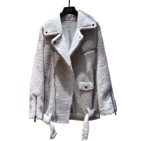 Quality Genuine Sheep Shearling Lady Jacket Real Full Pelt Sheep Shearling Casual Coat Women Autumn Winter