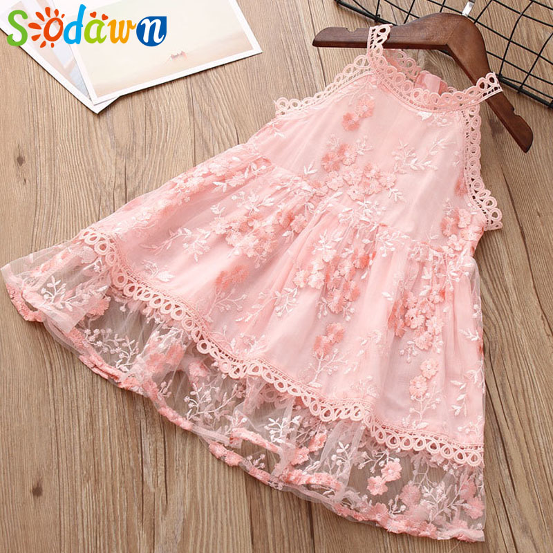 Sodawn 2018 Summer New Children Clothes Sleeveless Lace Embroidery Mesh Girls Dress Fashion Girls Clothes Kids Clohting