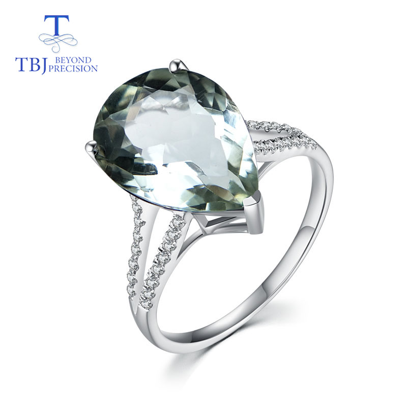 TBJ prasiolite green amethyst rings pear 12 16mm natural gemstone 925 sterling silver fine jewelry for