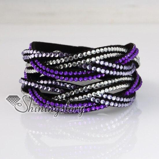 Bracelets slake en strass cristal double couche bracelets en cuir véritable bracelet bracelets porte-bonheur breloques et bracelets porte-bonheur