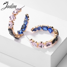 Joolim Cubic Zirconia Pave Hoop Earring C Shape Party