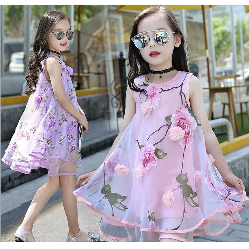 New Summer Style Baby Girl Princess Dresses Kids Clothes Sleeveless Print Flowers Cute Party Birthday Dresses for Girls XL152