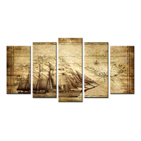 Wall Art Canvas Prints Vintage Map Adventure Ocean Sailing Map Painting Compass Boat Sailing On The