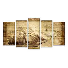 Wall Art Canvas Prints Vintage Map Adventure Ocean Sailing Map Painting Compass Boat Sailing On The Sea For Living Room No Frame