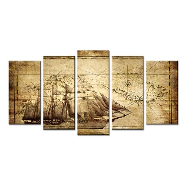 Online Shop Wall Art Canvas Prints Vintage Map Adventure Ocean ...