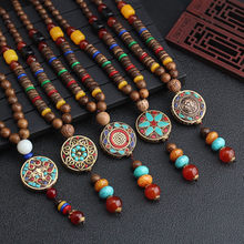2019 New Round Plate Nepal Flower Pendant Ethnic Necklace Egypt Elephant Necklace Coconut Beads Necklace Sweater Necklaces(China)