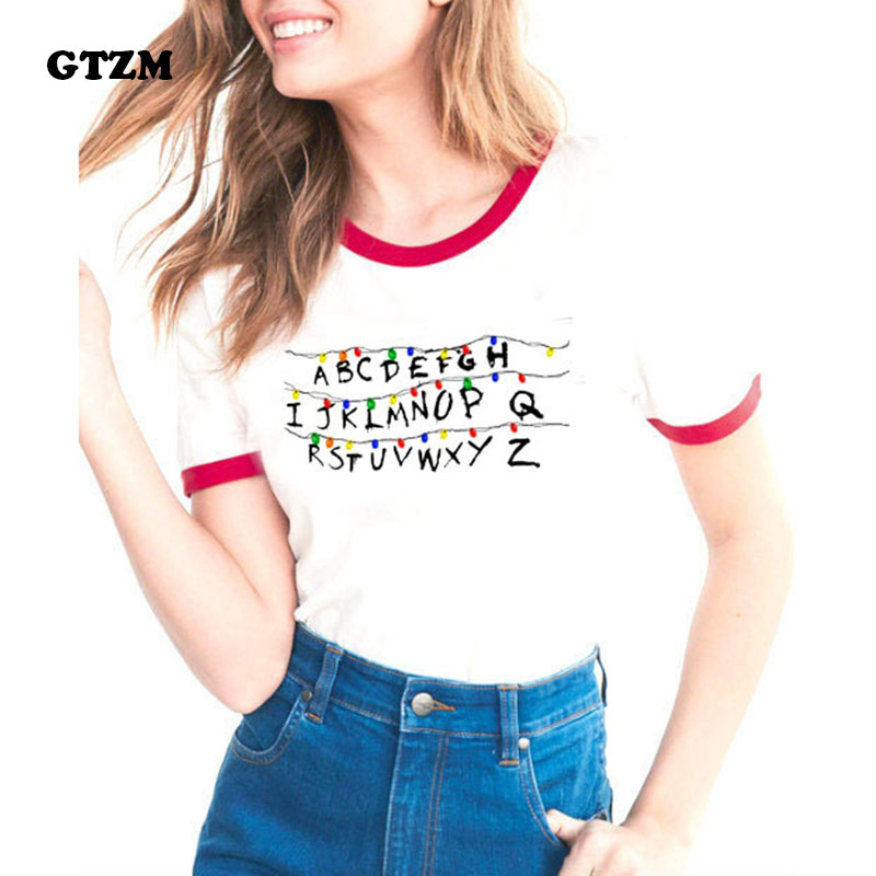 GTZM Stranger Things Tshirt Women 2018 Summer Letter T-shirts Printing Bts Funny Tee Shirt Tops Clothes For Female Clothing