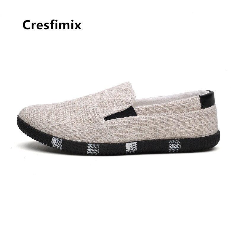 Cresfimix Men Casual High Quality Spring & Summer Slip on Beige Hemp Shoes Man Cool Comfortable Black Zapatos B5025