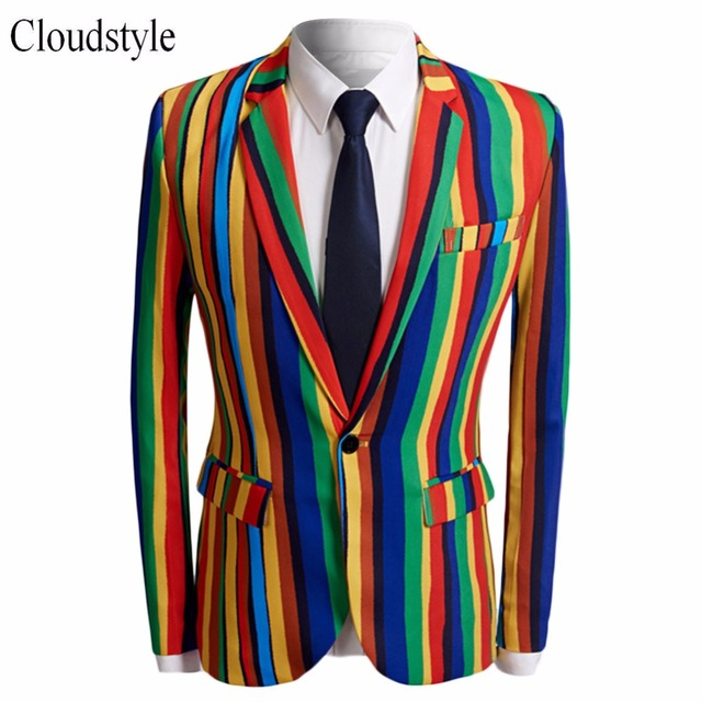4202e8125dd Cloudstyle Male Blazer Men Fashion Rainbow Color Patchworked Jacket Men  Coll Single Button Suit Jacket Plus Size 5XL
