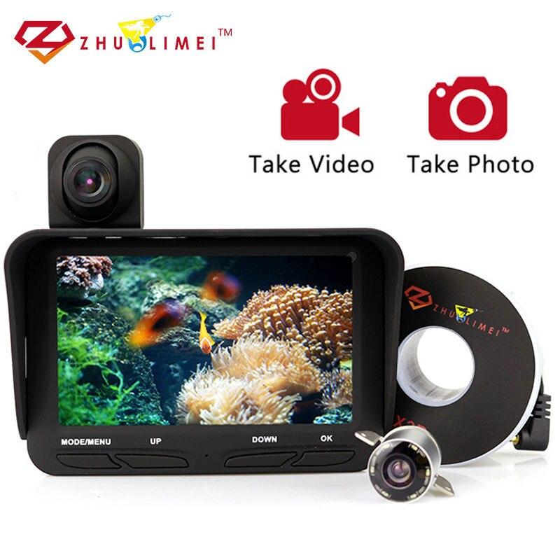 ZLM Vidéo Recodage Fish Finder Caméra Double Cam Pêche Sous-Marine Caméras Infrarouge 6 pcs Led Fishcam Pour La Pêche Sur Glace DVR kamera