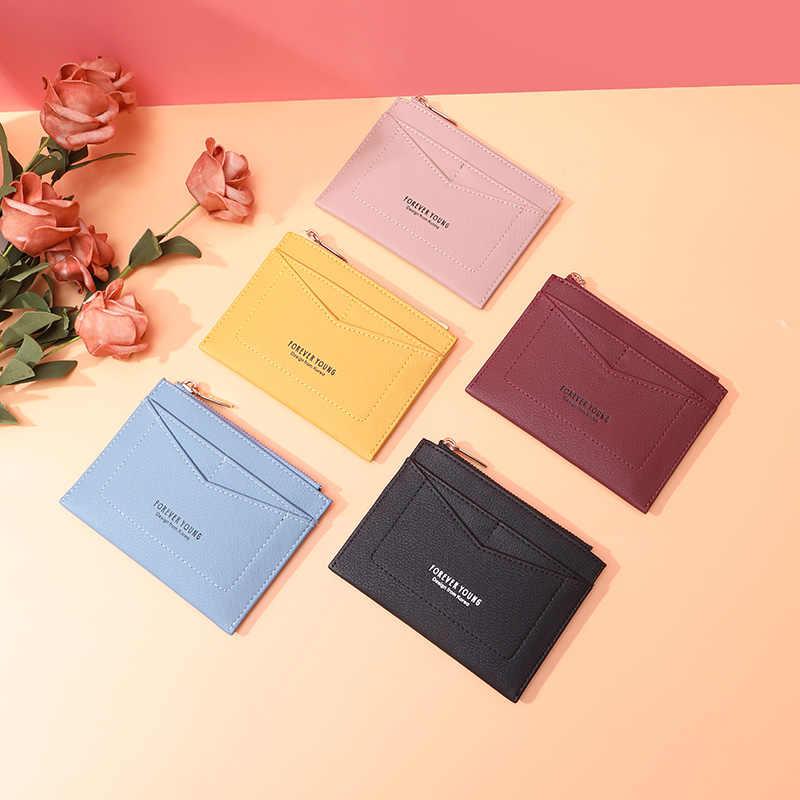 Bolsa de couro pequena bolsa de couro das mulheres titular do cartão de crédito pequena carteira feminina organzier mini caso de cartão de crédito zíper sacos de moedas