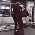 Women Gyms Sexy Hooded Sweatshirt Pullover Black Hoodie Outerwear High Quality Fitness Slim Fit Women Wears