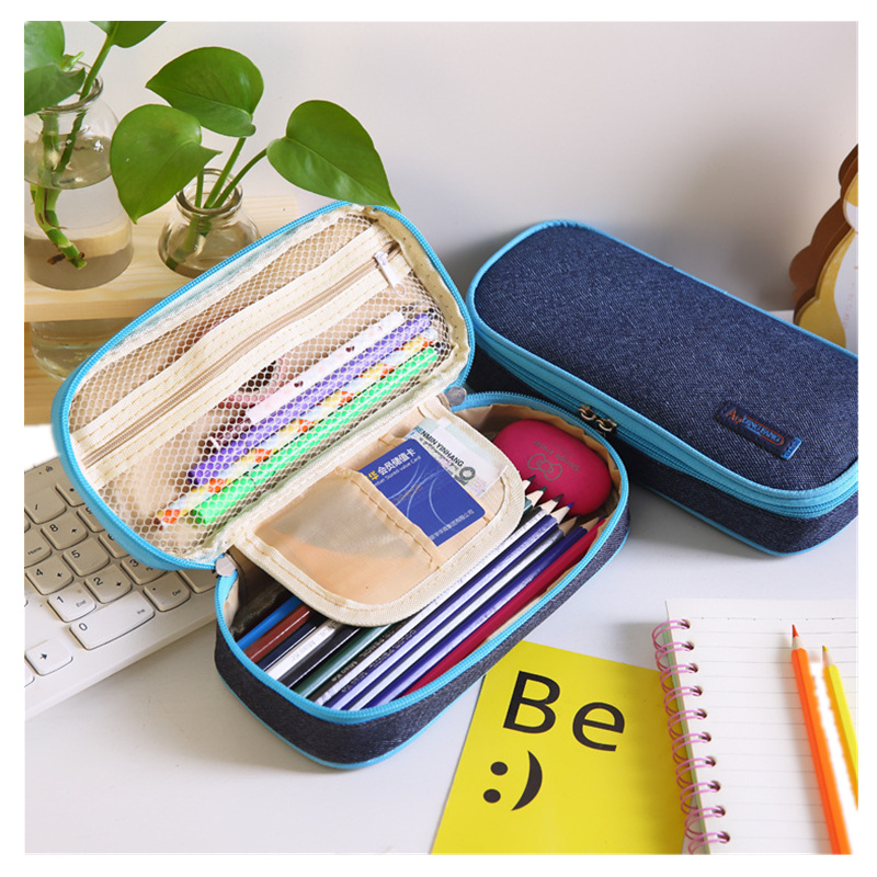 Korea Multifunction student Pencil Case Large Capacity Jeans cloth Pen Curtain Box for Boy Girl Gift Stationery Supplies pouch шины contyre arctic ice 175 65 r14 82q