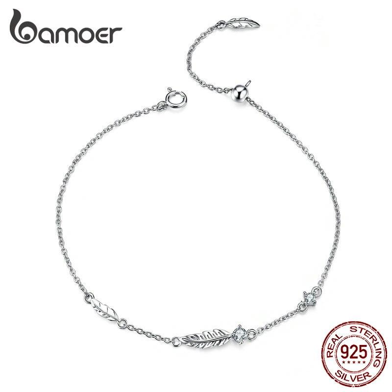 BAMOER Boho pluma cadena pulsera de plata de ley 925 enlace Bohemia estilo Zironia joyería verano chica regalos SCB133