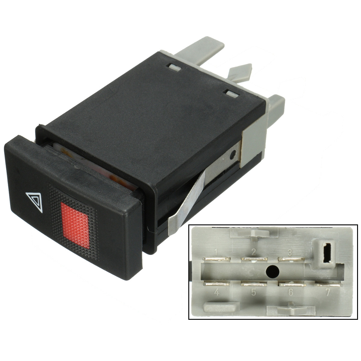 Цена за 7 Шпильки непредвиденный опасности сигнальная лампа Flasher переключатель для Audi A4 B5 8D2 1996-2002 8D0941509E черный Пластик