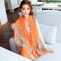 Fashion Sexy Womens Ladies Voile Long 160cmx70cm Stole Scarves Flower Shawl Scraf Autumn Outdoor Wrap Hijabs 2016