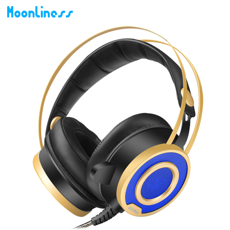 Moonliness Gaming Headphones Headset with Sound USB Stereo Over Ear Noise Isolating Over-ear headphones with Mic LED for PC magift sound effect gaming headset stereo headphones with mic for computer pc laptop gamer with led light over ear glowing