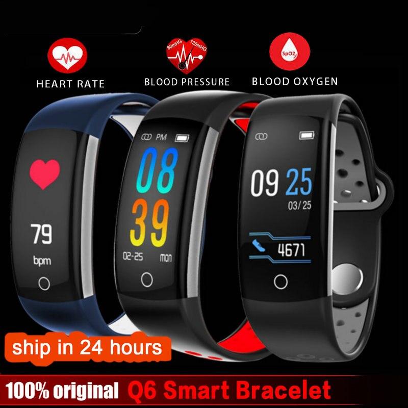 2019 Q6 Rastreador De Fitness Inteligente Pulseira relógio banda HR IP68 Atividade Rastreador Sono Aptidão Rastreador À Prova D' Água para Android IOS