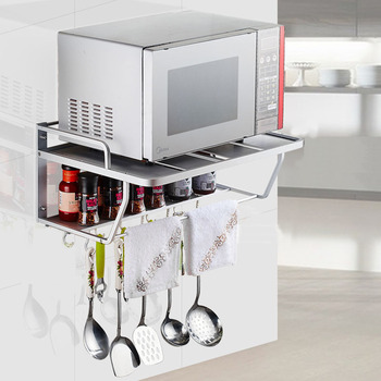 Space Aluminum Microwave Oven Bracket Wall Mounted Kitchen Rack Light Grate 2 kitchen Shelf Microwave Oven Rack Storage Wall F induction cooktop stainless steel kitchen rack floor multi layer storage rack microwave oven kitchenware storage shelf