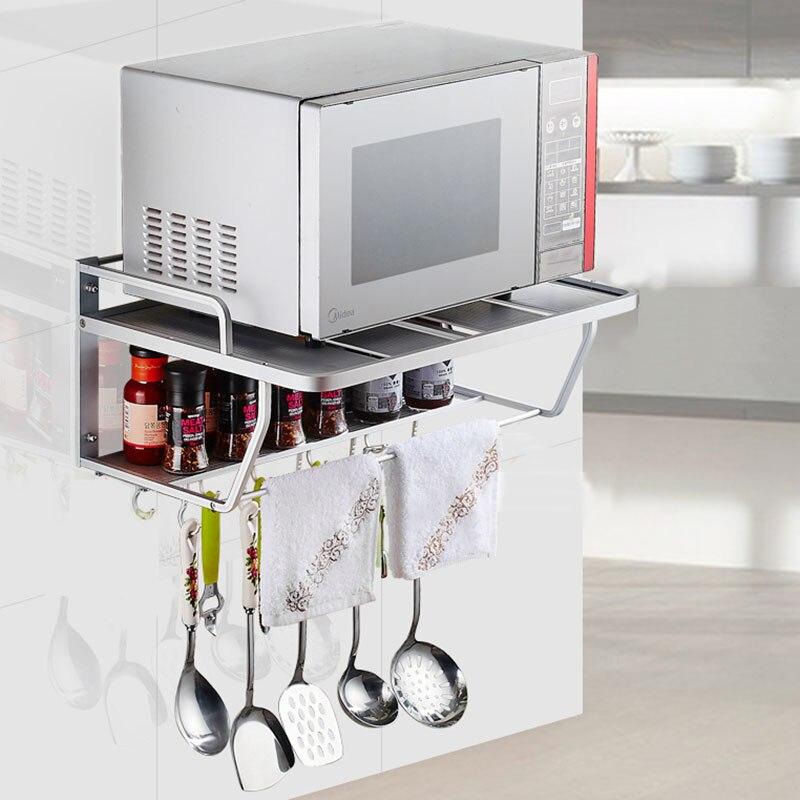 Support de four à micro-ondes en aluminium espace support de cuisine mural grille lumineuse 2 étagère de cuisine four à micro-ondes Rack de stockage mur F