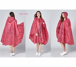 Image 5 - Womens Stylish Waterproof Rain Poncho Coloful Print Raincoat with Hood and Zipper