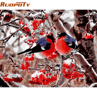 RUOPOTY Frameless Picture Birds DIY Painting By Numbers Kits Acrylic Paint On Canvas Modern Wall Art