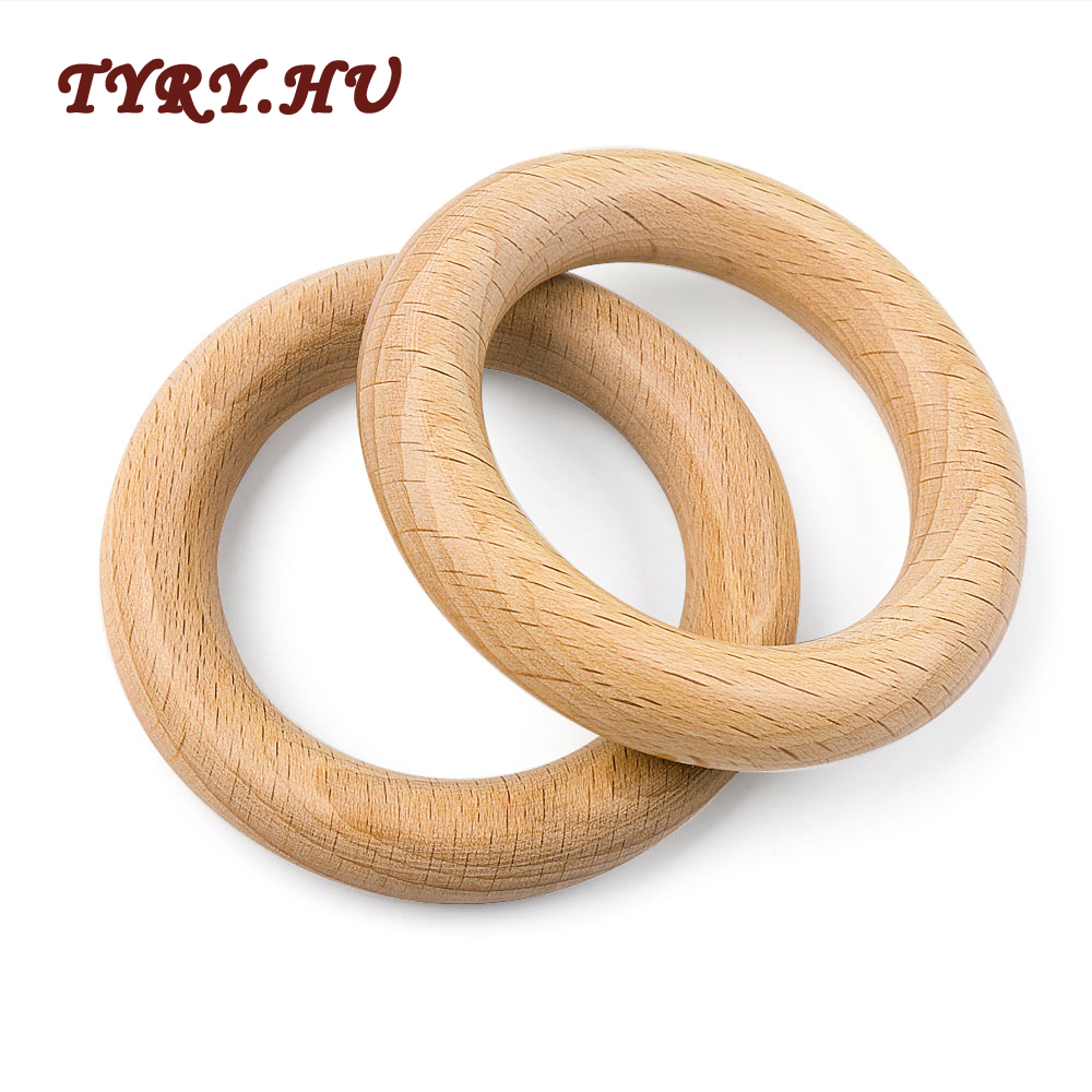 TYRY.HU 5Pc Beech Wooden Teether 40/70MM Baby Teething Ring Nature Wooden Teething Pendant For DIY Babies Teething Toys Gifts