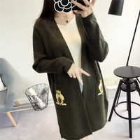 2017 Winter New Women Sweater Cardigan Loose Owl Long V neck Section Cusual Sweater Jacket Coat