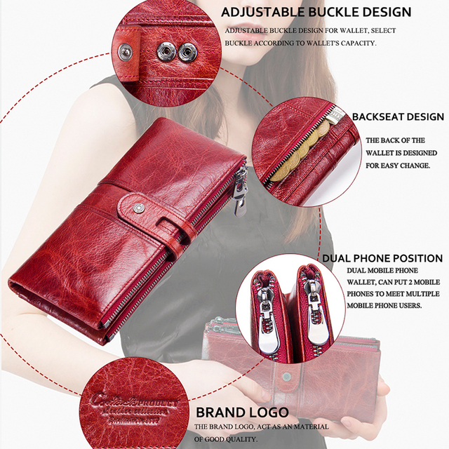 Women Purses Long Zipper Genuine Leather Ladies Clutch Bags With Cellphone Holder High Quality Card Holder Wallet 4