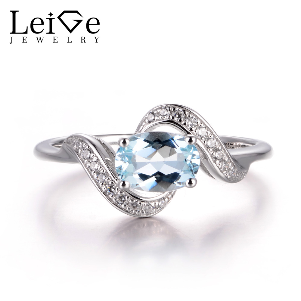 LeiGe Jewelry Natural Aquamarine Wedding Rings March Birthstone Oval Cut Blue Stone Rings Real 925 Sterling Silver Fine Jewelry