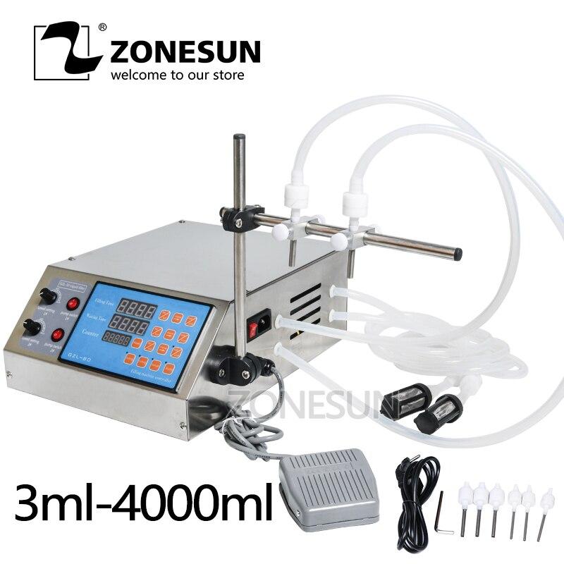 Machine de remplissage liquide de pompe de contrôle numérique électrique ZONESUN 0.5-4000 ml pour l'huile essentielle liquide de jus d'eau de parfum avec 2 têtes