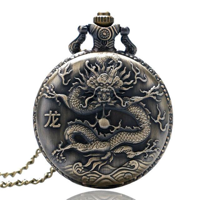 Retro Antique Pocket Watch Impressive Solid Oriental Dragon Sculpture Loong Scri