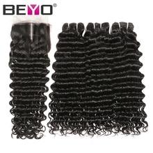 Tiefe Welle Menschliches Haar Bundles Mit Verschluss Brasilianische Haarwebart Bundles Mit Verschluss Natürliche Farbe Nicht Remy Haar Verlängerung Beyo
