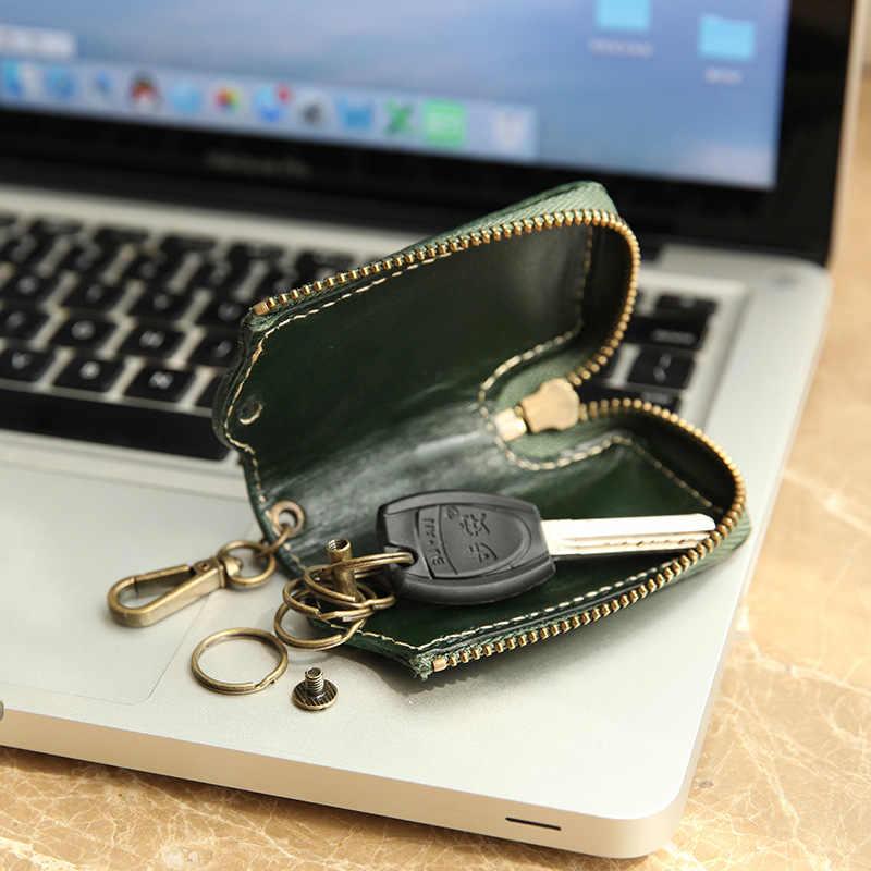 Yifangzhe chaves carteira caso, couro genuíno do couro das mulheres dos homens couro porta-chaves do carro, dinheiro carteira bolsa caso 5 chaves